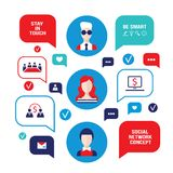 Social network concept People avatars with speech bubbles and business icons for web. Vector illustration Royalty Free Stock Photography