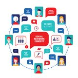 Social network concept People avatars with speech bubbles and business icons for web. Vector illustration Stock Photos