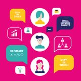 Social network concept People avatars with speech bubbles and business icons for web. Vector illustration Stock Photo