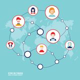 Social network concept People avatars on world map background Royalty Free Stock Image