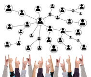 Social network concept pointed by several fingers Royalty Free Stock Photography