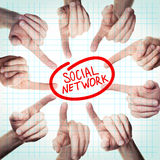 Social Network Concept with Pointing Hand Royalty Free Stock Image
