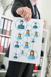 Social network concept shown by a businessman stock photography
