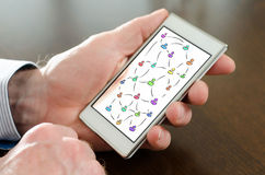 Social network concept on a smartphone Stock Photo
