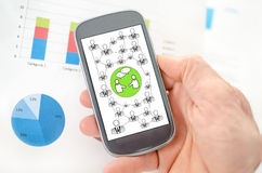 Social network concept on a smartphone Stock Images