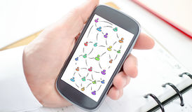 Social network concept on a smartphone Royalty Free Stock Photography
