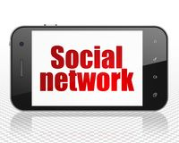 Social network concept: Smartphone with Social Network on display Royalty Free Stock Photo