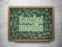 Social network concept: Social Media on School board background. Social network concept: Chalk Green text Social Media on School board background with  Hand Royalty Free Stock Photo