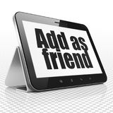 Social network concept: Tablet Computer with Add as Friend on display Royalty Free Stock Photography