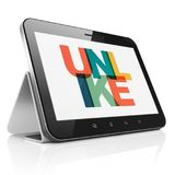Social network concept: Tablet Computer with Unlike on  display. Social network concept: Tablet Computer with Painted multicolor text Unlike on display, 3D Stock Images
