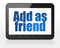 Social network concept: Tablet Pc Computer with Add as Friend on display. Social network concept: Tablet Pc Computer with blue text Add as Friend on display, 3D Stock Image