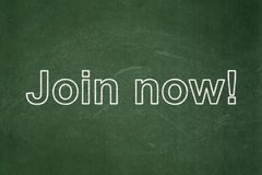 Social network concept: Join now! on chalkboard background Royalty Free Stock Photography