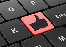 Social network concept: Thumb Up on computer keyboard background. Social network concept: computer keyboard with Thumb Up icon on enter button background, 3D Royalty Free Stock Image