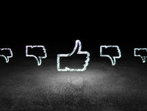 Social network concept: thumb up icon in grunge Stock Photos