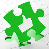 Social network concept: Thumb Up on puzzle. Social network concept: Thumb Up on Green puzzle pieces background, 3d render Royalty Free Stock Photos
