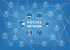 Social network concept. Vector background with connected devices and friends. Lines of communication between groups and people within a global network. Icons Stock Photos