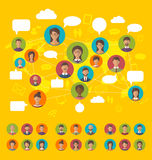 Social network concept on world map with people icons avatars, f Royalty Free Stock Photos
