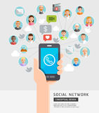 Social Network Conceptual Flat Style. Stock Images