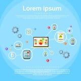 Social Network Connection Concept Internet Device Stock Photos