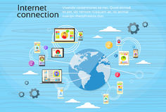 Social Network Connection Concept Internet Device. Communication People Vector Illustration stock illustration