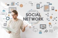 Social Network Connection Digital Communication Concept Stock Images