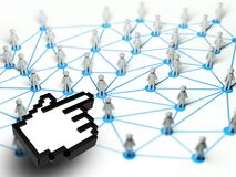 Social network connection with hand icon Royalty Free Stock Photos