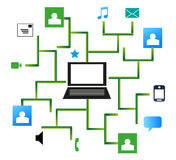 Social Network Connection From a Laptop. Vector illustration of social network icons connected with a laptop via lines Stock Photos