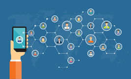 Social network connection for online business background stock illustration