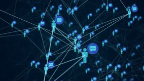 Social network connection people with molecule structure. Social network connection people with molecule structure blue color black background. Abstract royalty free stock photos
