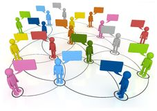 Social Network Connections. 3D concept characters chatting in linked web Stock Photos