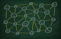 Social Network. Connections Drawn On Chalkboard Royalty Free Stock Images