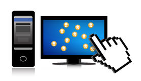 Social network and cursor Stock Images