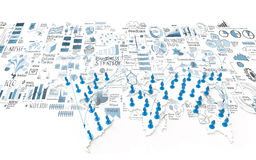 Social network 3d on world map. And hand drawn business strategy as concept Royalty Free Stock Images