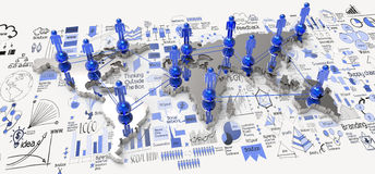 Social network 3d on world map. And hand drawn business strategy as concept Stock Photography