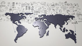 Social network 3d on world map and hand drawn business strategy. As concept Royalty Free Stock Photos