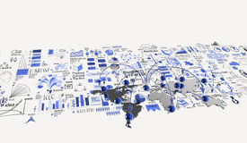 Social network 3d. On world map and hand drawn business strategy as concept Royalty Free Stock Photography