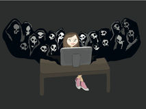 Social Network Danger. Illustration of a teenage girl sitting down at a desk surfing the internet. She is blissfully un aware of the evils of social networking Stock Photography