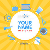 Social network designer avatar. Place for your name. Template of the artist portfolio, banners, announcements, web sites Royalty Free Stock Photography