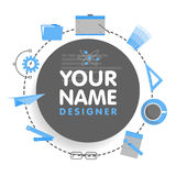 Social network designer avatar. Place for your name. Template of the artist portfolio, banners, announcements, web sites Stock Photography