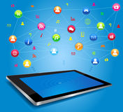 Social network on digital tablet Stock Photos