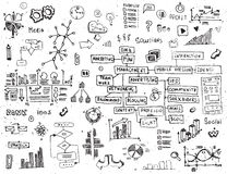 Social network doodles - hand drawn set of media elements. Royalty Free Stock Photos