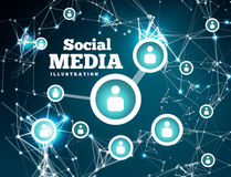 Social network with dot connected by lines Royalty Free Stock Images