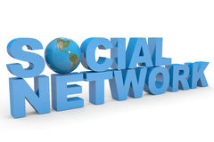 Social Network. Earth globe replacing letter O. Stock Images