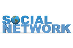 Social Network. Earth globe replacing letter O. Royalty Free Stock Photography