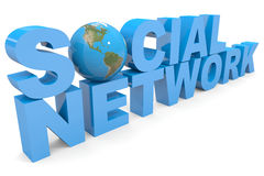 Social Network. Earth globe replacing O Stock Photos
