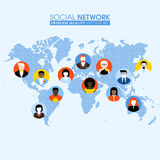 Social network flat concept with communicating people on a map. Social network flat concept with communicating people on a dotted world map Stock Image