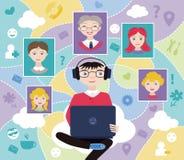 Social network (flat concept) Stock Photos