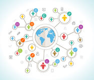 Social Network. Flat design concept with world map Royalty Free Stock Photography