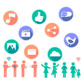Social Network flat icon Stock Images