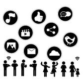 Social Network flat icon design with people sillouhette on white Stock Images